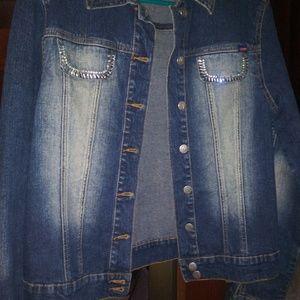 Women's Blue jean/crystal Jacket